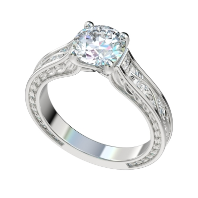 Faux Trellis Vines Leaf Solitaire Engagement Ring - Platinum