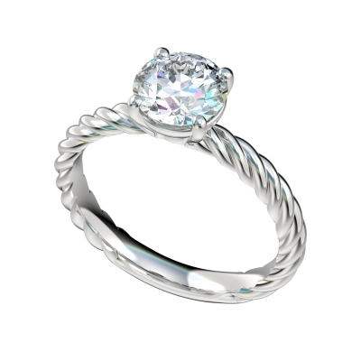 Petite Rope Shank Engagement Ring - Platinum