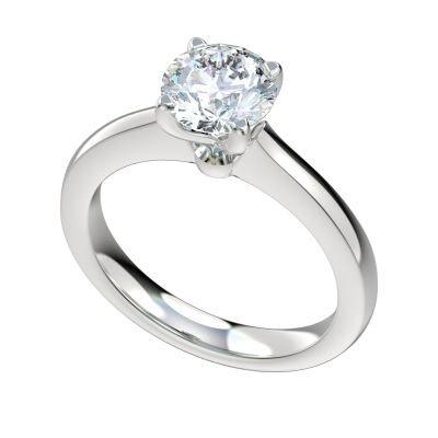 Floral Cathedral Solitaire Engagement Ring - Platinum
