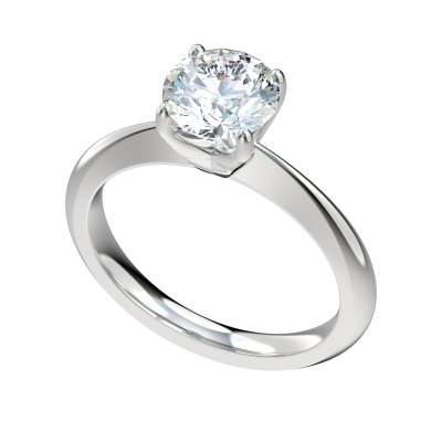 Knife Edge Solitaire Engagement Ring - Platinum