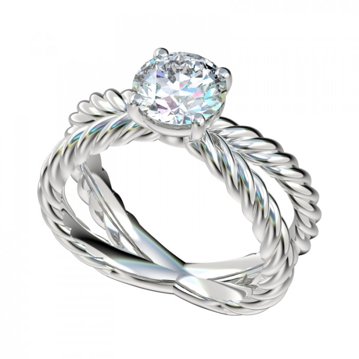 rope cross shank solitaire engagement ring