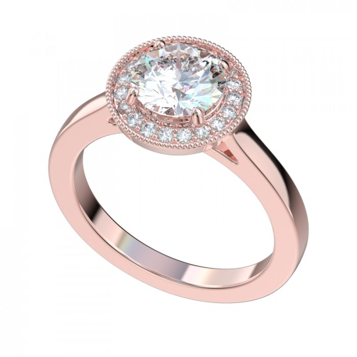 Rose Gold Halo Diamond Ring