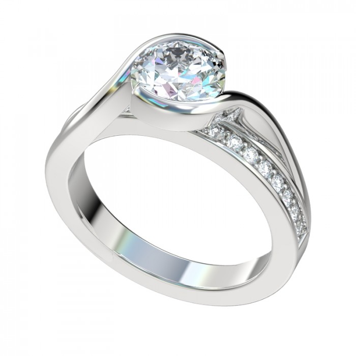 elevated half bezel bypass engagement ring