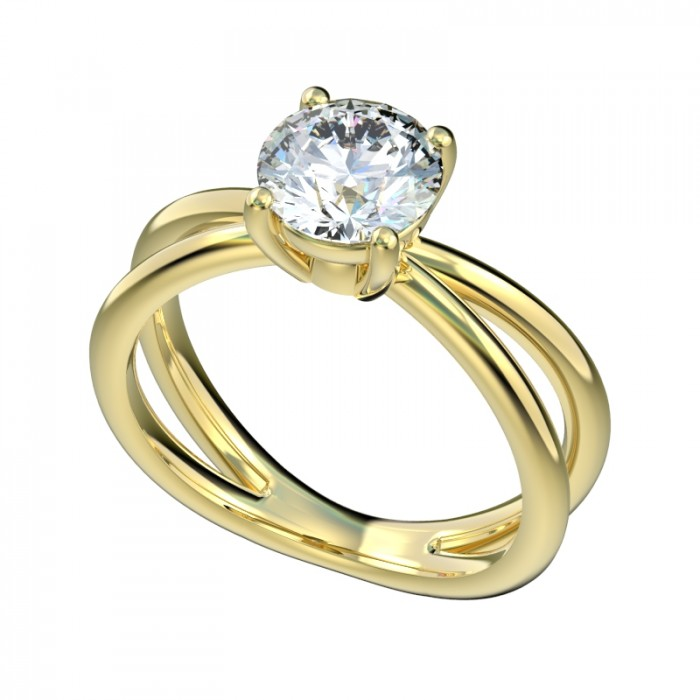 cross shank solitaire engagement ring