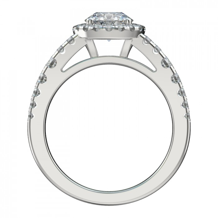 Tapered Shank Double Row Halo Engagement Ring