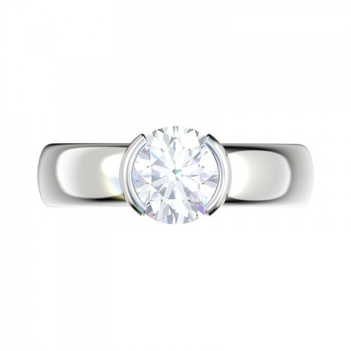 Half Bezel Solitaire Engagement Ring