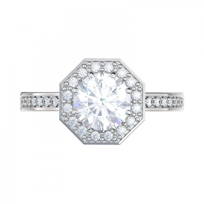 octagon halo engagement ring With octagon wedding ring