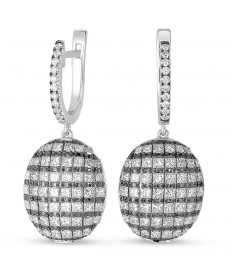 White and Black Oval Diamond Dangle Earrings