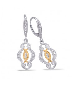 White and Yellow Gold Art Deco Diamond Earrings