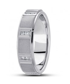 Vertical Channel Step Edge Diamond Ring - Platinum