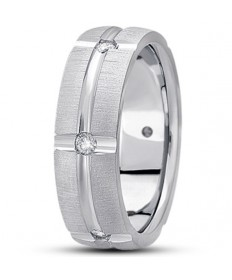 Cross Groove Diamond Wedding Ring - Platinum
