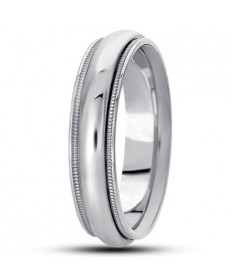 Step Edge Milgrain Wedding Band - Platinum