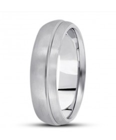Half Round Offset Groove Wedding Ring - 6MM