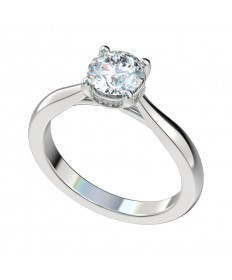Faux Trellis Diamond Gallery Engagement Ring - Platinum