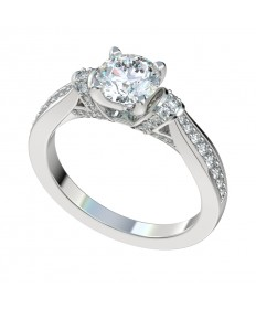Bead Bright Diamond Shoulders Engagement Ring - Platinum
