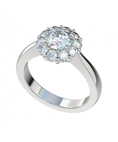 Tapered Shank Shared Prong Halo Engagement Ring - Platinum