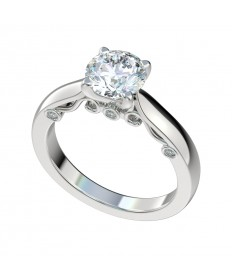 Four Prong Decorative Gallery Engagement Ring - Platinum