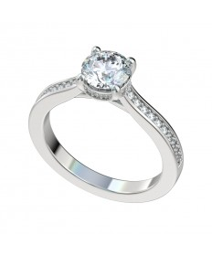 Faux Trellis Bead Bright Diamond Gallery Engagement Ring - Platinum