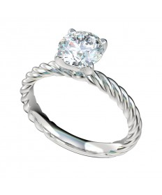 Rope Shank Solitaire Engagement Ring - Platinum