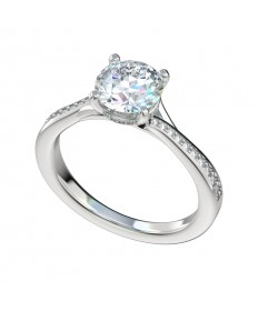 Delicate Split Bypass Diamond Gallery Engagement Ring - Platinum