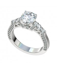 Four Prong Diamond Shoulders Engagement Ring - Platinum