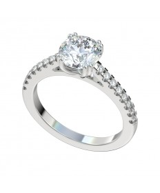 Double Prong Scalloped Cathedral Engagement Ring - Platinum