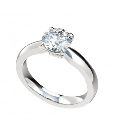 Closed Cathedral Solitaire Engagement Ring - Platinum