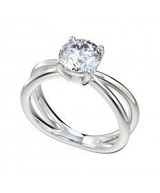 Cross Shank Solitaire Engagement Ring - Platinum