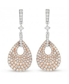 White and Rose Gold Diamond Dangle Earring