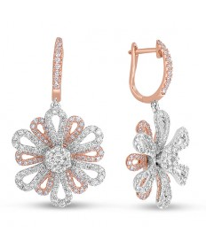 Rose Gold Floral Diamond Earrings