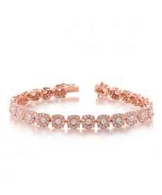 Diamond Halo Tennis Bracelet Rose