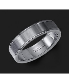6MM Triton Tungsten Pipe Cut Wedding Band - Perspective