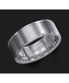 8MM Triton Gray Tungsten Pipe Cut Wedding Band - Perspective