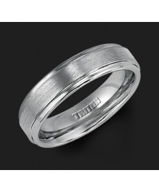 6MM Triton Gray Tungsten Step Edge Wedding Band - Perspective