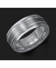 9MM Triton Gray Tungsten Step Groove Wedding Band - Perspective