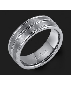 8MM Triton Gray Tungsten Single Groove Wedding Band