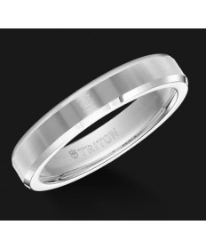5MM Triton White Tungsten Pipe Cut Wedding Band - Perspective
