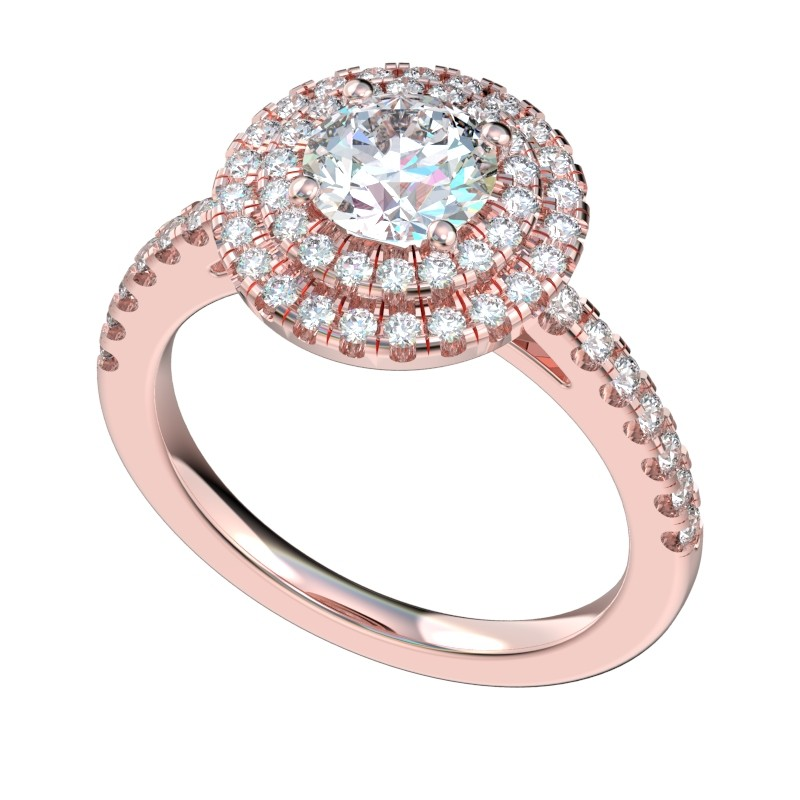 Engagement Rings Chicago: Split Prong Double Halo Engagement Ring