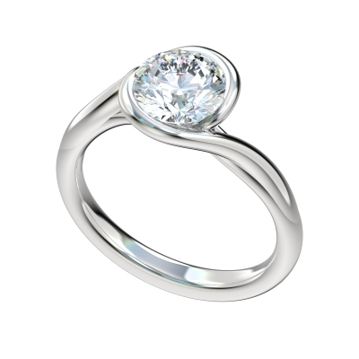 Interlocking Bezel Loop Engagement Ring - Platinum