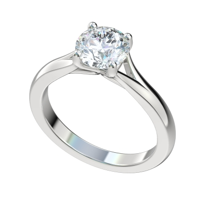 Faux Trellis Split Engagement Ring - Platinum