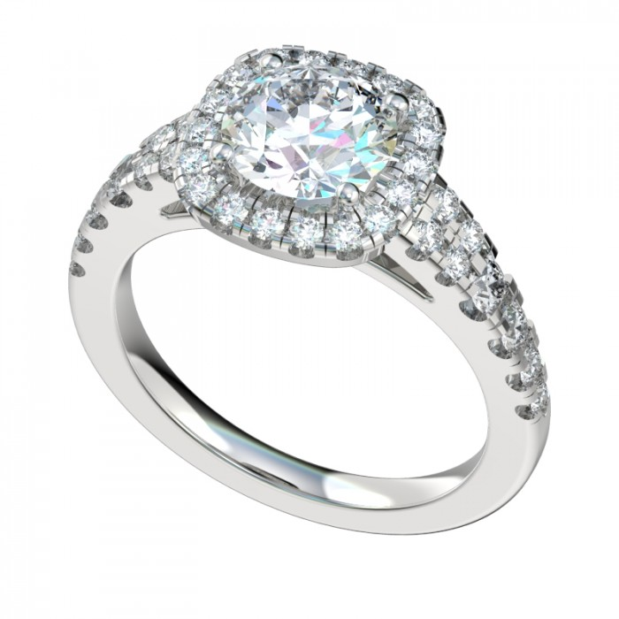 Tapered Shank Double Row Cushion Halo Engagement Ring