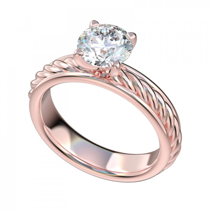 Framed Rope Shank Solitaire Engagement Ring