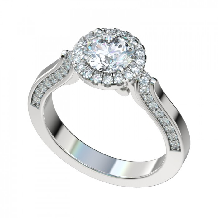 Antique Scroll Gallery Halo Engagement Ring