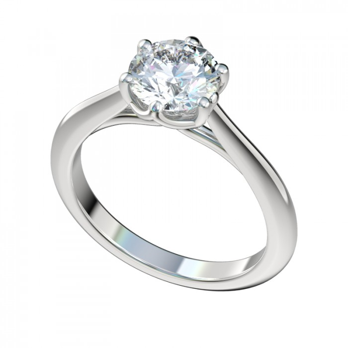 Six Prong Solitaire Rings