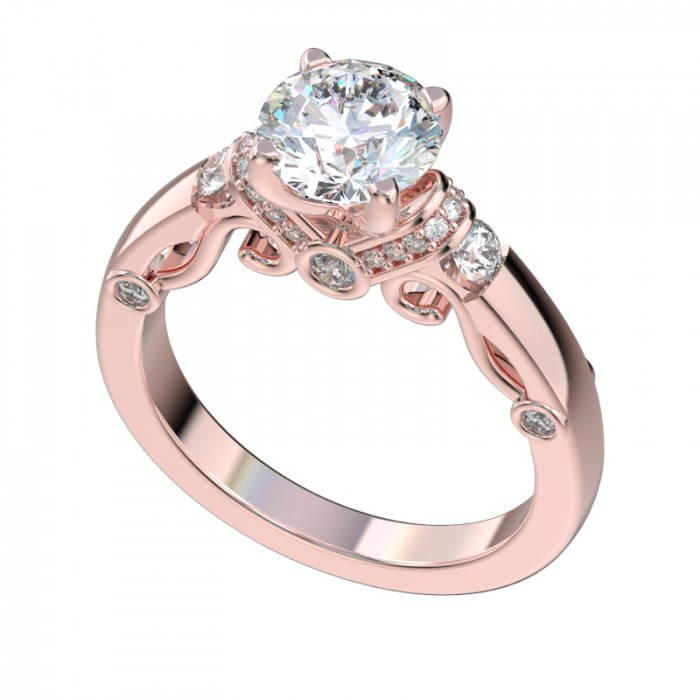 Diamond Shoulders Scroll Gallery Engagement Ring