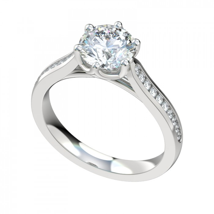 six prong trellis channel engagement ring