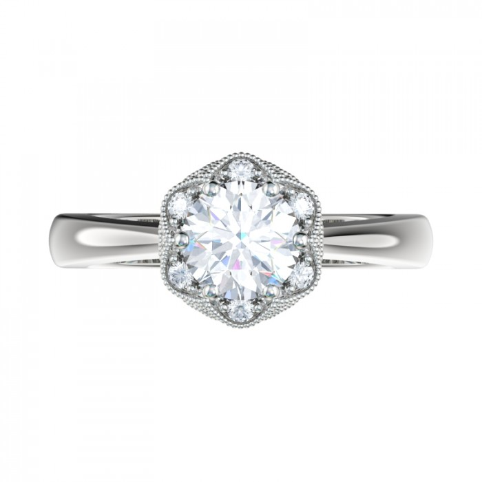Milgrain Cluster Halo Engagement Ring