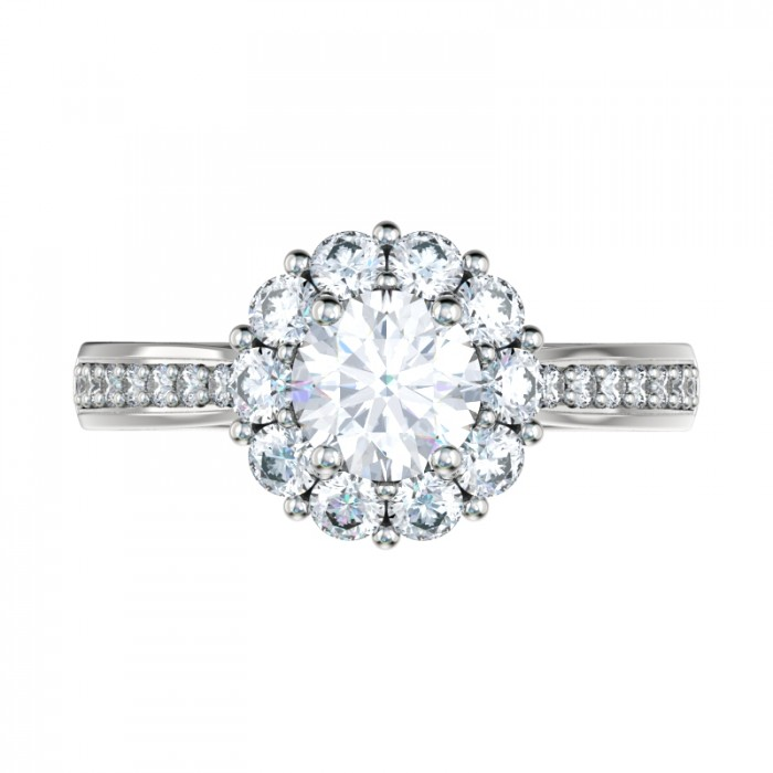 Best Custom Engagement Rings Chicago: Shared Prong Bead Bright Halo Engagement Ring