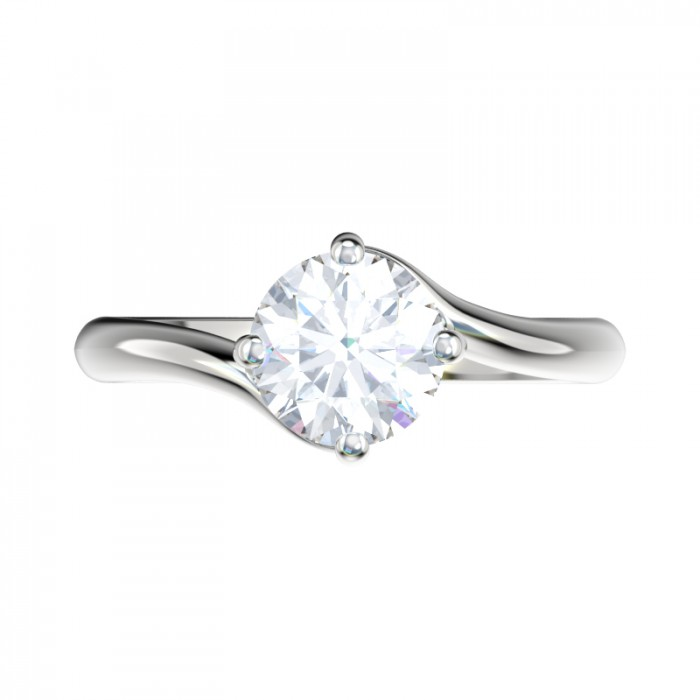Twist Bypass Solitaire Engagement Ring