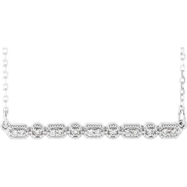 Diamond and Mini Bead Bar Necklace